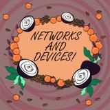 Het schrijven nota die Netwerken en Apparaten tonen Bedrijfsfoto demonstratie gebruikt om computers of elektronische andere aan t stock illustratie