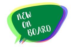 Het schrijven nota die Nieuwe Aan boord tonen Het bedrijfsfoto demonstratieonthaal aan de Samenwerking van de teamaanpassing iema stock illustratie
