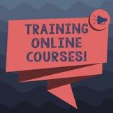 Het schrijven nota die Opleidings Online Cursussen tonen De bedrijfsfoto demonstratie levert een reeks lessen aan Webbrowser stock illustratie