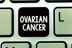 Het schrijven nota die Ovariale Kanker tonen De bedrijfsfoto die abnormale cellen in de eierstok demonstreren begint zich te verm stock foto