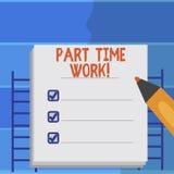Het schrijven nota die het Part-time Werk tonen Bedrijfsfoto die a-baan demonstreren die niet peranalysisent maar kan goed preste royalty-vrije illustratie