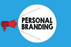 Het schrijven nota die het Persoonlijke Brandmerken tonen Bedrijfsfoto die Op de markt brengend en hun carrières als merken demon vector illustratie
