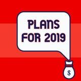 Het schrijven nota die Plannen voor 2019 tonen Bedrijfsfoto die een bedoeling of een besluit demonstreren over wat men gaat doen vector illustratie