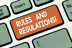 Het schrijven nota die Regels en Verordeningen tonen Bedrijfsfoto te volgen demonstratierichtlijnen wanneer het binnengaan in a royalty-vrije stock afbeeldingen