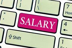 Het schrijven nota die Salaris tonen Bedrijfsfoto die vaste regelmatige betalings typisch betaald maandelijkse basis voor vast de royalty-vrije stock afbeelding
