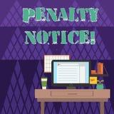 Het schrijven nota die Sanctiebericht tonen Bedrijfsfoto die de directe boete demonstreren die aan het tonen voor minder belangri vector illustratie