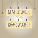 Het schrijven nota die Schadelijke software tonen Bedrijfsfoto die de software demonstreren die kwaad aan een computersysteem bre vector illustratie