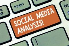 Het schrijven nota die Sociale Media Analyse tonen Bedrijfsfoto demonstratie het verzamelen en de evaluatie van de sociale media  stock fotografie