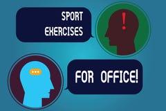 Het schrijven nota die Sportenoefeningen voor Bureau tonen Bedrijfsfoto demonstratie het Uitwerken in de pasvorm van het werkplaa vector illustratie