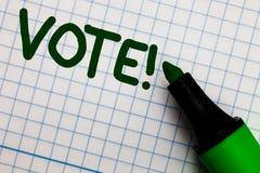 Het schrijven nota die Stem Motievenvraag tonen Bedrijfsfoto die Geformaliseerd besluit betreffende belangrijke kwesties demonstr royalty-vrije stock foto