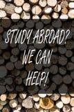 Het schrijven nota die Studie Abroadquestion tonen kunnen wij helpen Bedrijfsfoto demonstratie volledig gaan overzee uw studies royalty-vrije stock foto
