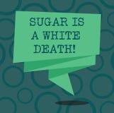 Het schrijven nota die Sugar Is een Witte Dood tonen De bedrijfsfoto demonstratiesnoepjes zijn gevaarlijk ongezond diabetesalarm stock illustratie