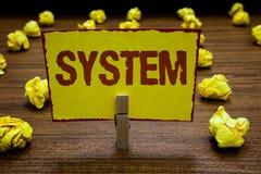 Het schrijven nota die Systeem tonen Bedrijfsfoto demonstratiereeks dingen die als delenmechanisme of HOL van de netwerkwasknijpe stock foto