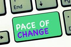 Het schrijven nota die Tempo van Verandering tonen Bedrijfsfoto demonstratieverschuiving in normale routinevariatie in gebruikeli stock foto's