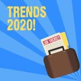 Het schrijven nota die Tendensen 2020 tonen Bedrijfsfoto die algemene richting demonstreren waarin iets zich ontwikkelt of stock illustratie