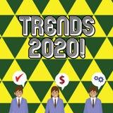 Het schrijven nota die Tendensen 2020 tonen Bedrijfsfoto die algemene richting demonstreren waarin iets zich ontwikkelt of royalty-vrije illustratie