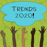 Het schrijven nota die Tendensen 2020 tonen Bedrijfsfoto die algemene richting demonstreren waarin iets zich ontwikkelt of vector illustratie