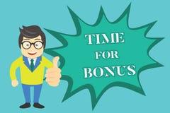 Het schrijven nota die Tijd voor Bonus tonen De bedrijfsfoto die een som geld demonstreren voegde aan de lonen van een persoon to stock illustratie