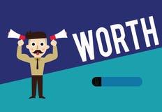 Het schrijven nota die tonen met een waarde van Bedrijfsfoto demonstratie gelijkwaardig in waarde aan sompunt gespecificeerde vol stock illustratie