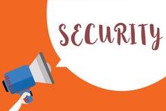 Het schrijven nota die Veiligheid tonen Bedrijfsfoto die de staat van het voelen van veilige stabiel en vrij van vrees of gevaars vector illustratie