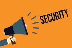 Het schrijven nota die Veiligheid tonen Bedrijfsfoto die de staat van het voelen van veilige stabiel en vrij van vrees of gevaars royalty-vrije illustratie