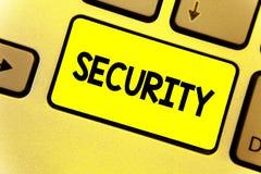 Het schrijven nota die Veiligheid tonen Bedrijfsfoto die de staat van het voelen van veilige stabiel en vrij van vrees of gevaars stock illustratie