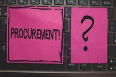 Het schrijven nota die Verwerving Motievenvraag tonen Bedrijfsfoto demonstratie het Verkrijgen Aankoop van materiaal en voorraden stock afbeelding
