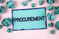 Het schrijven nota die Verwerving tonen Bedrijfsfoto demonstratie het Verkrijgen Verkrijgend iets Aankoop van materiaal en leveri stock foto's