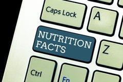 Het schrijven nota die Voedingsfeiten tonen Bedrijfsfoto die Gedetailleerde informatie over de voedingsmiddelen van het voedsel d stock afbeelding