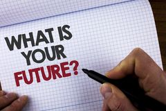 Het schrijven nota die wat tonen Uw Toekomstige Vraag is Bedrijfsfoto die waar demonstreren u zich in de volgende geschreven jare royalty-vrije stock afbeelding