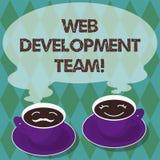 Het schrijven nota die WebOntwikkelingsteam tonen Bedrijfsfoto die een team van ontwikkelaars demonstreren die voor een uiteindel vector illustratie