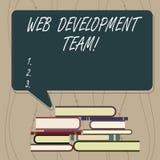 Het schrijven nota die WebOntwikkelingsteam tonen Bedrijfsfoto die een team van ontwikkelaars demonstreren die voor een uiteindel stock illustratie