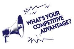 Het schrijven nota die Welk s tonen Uw Concurrentievoordeelvraag is Bedrijfsfoto demonstratie Marketing Blauwe megapho van het st vector illustratie