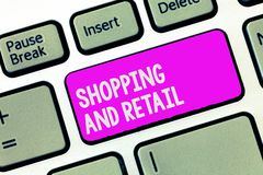Het schrijven nota en Kleinhandels tonen die winkelen Bedrijfsfoto demonstratieproces om Te verkopen de Consumptiegoederendienste stock afbeelding