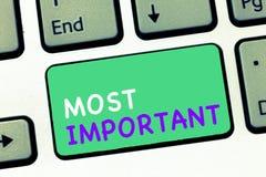 Het schrijven nota tonen het Belangrijkst Significante hoeveelheid of dergelijke van de bedrijfsfoto demonstratie de Grootste of  stock afbeelding