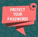 Het schrijven nota het tonen beschermt Uw Wachtwoord De bedrijfsfoto demonstratie beschermt informatie toegankelijk via computers vector illustratie