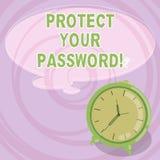 Het schrijven nota het tonen beschermt Uw Wachtwoord De bedrijfsfoto demonstratie beschermt informatie toegankelijk via computers stock illustratie