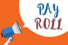 Het schrijven nota het tonen betaalt Broodje Bedrijfsdiefoto demonstratiehoeveelheid lonen en salarissen door een bedrijf aan zij royalty-vrije illustratie