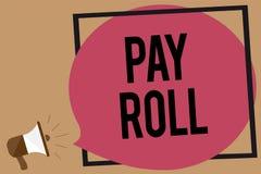 Het schrijven nota het tonen betaalt Broodje Bedrijfsdiefoto demonstratiehoeveelheid lonen en salarissen door een bedrijf aan zij stock illustratie