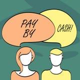 Het schrijven nota het tonen betaalt door Contant geld Bedrijfsfoto demonstrerende Klant die met geldmuntstukken rekeningen betal royalty-vrije illustratie