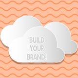 Het schrijven nota het tonen bouwt Uw Merk De bedrijfsfoto demonstratie leidt of verbetert klanten tot kennis en adviezen van stock illustratie