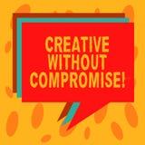 Het schrijven nota tonen Creatief zonder Compromis Bedrijfsfoto die een maatregel van goodwill en weinig originaliteitsstapel dem royalty-vrije stock foto