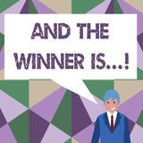 Het schrijven nota het tonen en de Winnaar zijn Bedrijfsfoto die aankondigend demonstreren wie eerste plaats bij de concurrentie  vector illustratie
