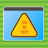 Het schrijven nota het tonen kan wij helpen Bedrijfsfoto die Aanbiedend hulpsteun deskundig advies voor uw problemen demonstreren stock illustratie
