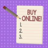 Het schrijven nota het tonen koopt online Bedrijfsfoto demonstratiee-commerce die consumenten om direct toestaat te kopen stock illustratie
