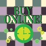 Het schrijven nota het tonen koopt online Bedrijfsfoto demonstratiee-commerce die consumenten om direct toestaat te kopen royalty-vrije illustratie