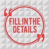 Het schrijven nota het tonen vult de Details in De bedrijfsfoto demonstratie voegt Informatie in een Lege Ruimte in een Document  royalty-vrije illustratie