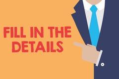 Het schrijven nota het tonen vult de Details in De bedrijfsfoto demonstratie voegt Informatie in een Lege Ruimte in een Document  stock illustratie