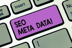 Het schrijven notashowingseo Meta - gegevens De Optimalisering van de bedrijfsfoto demonstratiezoekmachine Online marketing strat stock fotografie