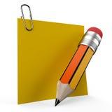 Het schrijven op bureaunota met een geel potlood repres Royalty-vrije Illustratie
